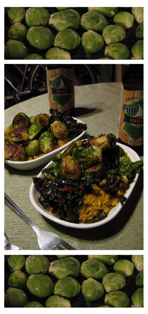 sprouts, chard and brown rice